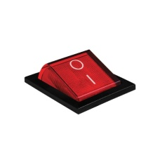 9009459 - red power switch at on position, isolated macro closeup